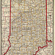Antique Map Of Indiana By George Franklin Cram - 1888 Poster by Blue Monocle