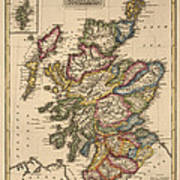 Antique Map Of Scotland By Fielding Lucas - Circa 1817 Poster by Blue Monocle