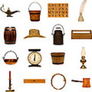 Antique Objects Collection Poster by Olivier Le Queinec