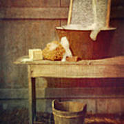 Antique Wash Tub With Soaps Poster by Sandra Cunningham