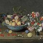 Apricots Plums And Grapes In A Bowl Poster by Jacob Van Hulsdonck