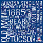 Arizona College Colors Subway Art Poster by Replay Photos