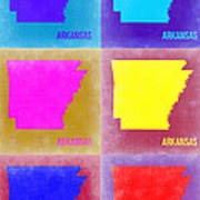 Arkansas Pop Art Map 2 Poster by Naxart Studio