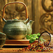 Asian Herb Tea Poster by Sandra Cunningham