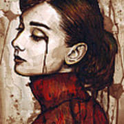 Audrey Hepburn - Quiet Sadness Poster by Olga Shvartsur