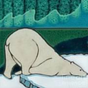 Aurora Borealis Polar Bear Poster by Elany  Prusa