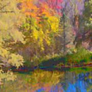 Autumn Beside The Pond Poster by Don Schwartz