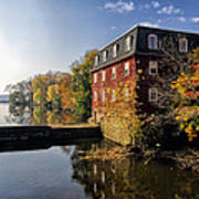 Autumn Morning At The Kingston Mill Poster by George Oze
