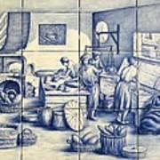 Azulejo Portuguese Bakers Tile Mural Poster by Julia Sweda