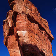 Balanced Rock At Garden Of The Gods With Moon Poster by John Hoffman