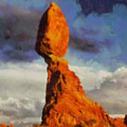 Balanced Rock At Sunset Digital Painting Poster by Mark Kiver