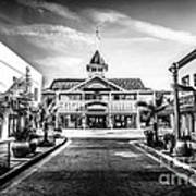 Balboa Pavilion Newport Beach Black And White Picture Poster by Paul Velgos