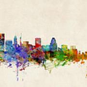 Baltimore Maryland Skyline Poster by Michael Tompsett