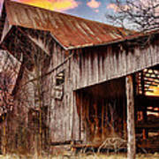 Barn At Sunset Poster by Brett Engle