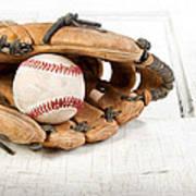 Baseball And Mitt Poster by Jennifer Huls