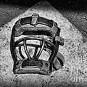 Baseball Catchers Mask Vintage In Black And White Poster by Paul Ward