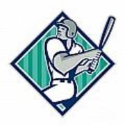 Baseball Hitter Batting Diamond Retro Poster by Aloysius Patrimonio