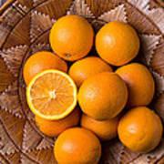 Basket Full Of Oranges Poster by Garry Gay