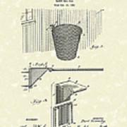Basketball Hoop 1925 Patent Art Poster by Prior Art Design