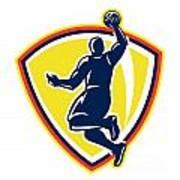 Basketballer Dunking Rebounding Ball Retro Poster by Aloysius Patrimonio