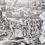 Battle Between Tuppin Tribes Poster by Theodore De Bry