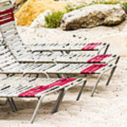 Beach Chairs Poster by Bernard  Barcos