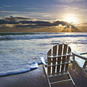 Beach Chairs Poster by Debra and Dave Vanderlaan