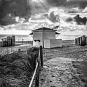 Beach Entrance To Old Glory - Black And White Poster by Ian Monk