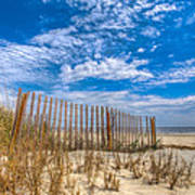 Beach Under Blue Skies Poster by Debra and Dave Vanderlaan