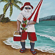 Beachen Santa Poster by Darice Machel McGuire
