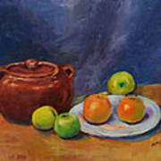 Bean Pot And Fruit Poster by Susie Jernigan
