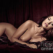Beautiful Young Woman Lying Naked In Bed Poster by Oleksiy Maksymenko