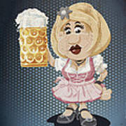 Beer Stein Dirndl Oktoberfest Cartoon Woman Grunge Color Poster by Frank Ramspott