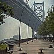 Ben Franklin Bridge And Pier Poster by Tom Gari Gallery-Three-Photography