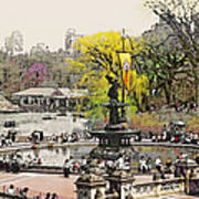 Bethesda Fountain Central Park Nyc Poster by Linda  Parker