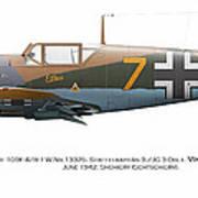 Bf 109f-4/r-1 W.nr.13325. Staffelkapitan 9./jg 3 Oblt. Viktor Bauer. June 1942. Shchigry Poster by Vladimir Kamsky