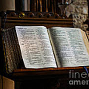 Bible Open On A Lectern Poster by Louise Heusinkveld