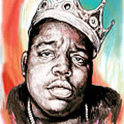 Biggie Smalls Colour Drawing Art Poster Poster by Kim Wang