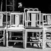 Black And White Chairs Poster by Sonja Quintero
