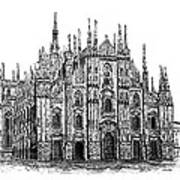Black And White With Pen And Ink Drawing Of Milan Cathedral  Poster by Mario Perez