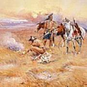 Black Feet Burning The Buffalo Range Poster by Charles Russell
