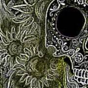 Black Sunflower Skull Poster by Lovejoy Creations
