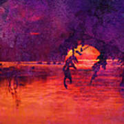Bleeding Sunrise Abstract Poster by J Larry Walker