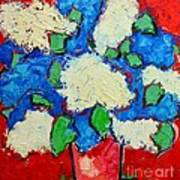 Blue And White Lilac Bouquet Poster by Ana Maria Edulescu