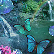 Blue Butterfly Dream Poster by Alixandra Mullins