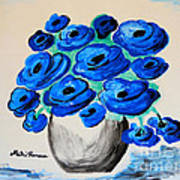 Blue Poppies Poster by Ramona Matei