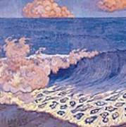 Blue Seascape Wave Effect Poster by Georges Lacombe