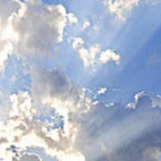 Blue Sky With Sun Rays Poster by Elena Elisseeva
