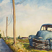 Blue Truck North Fork Poster by Susan Herbst