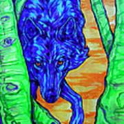Blue Wolf Poster by Derrick Higgins